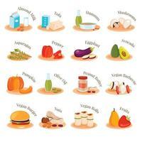 Vegan Vegetarian Dishes Flat Icons Set Vector Illustration
