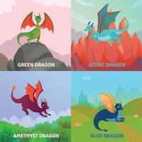 Ilustración de vector de concepto de diseño de dragones de fantasía