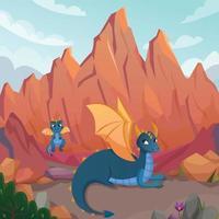 Ilustración de vector de composición de dibujos animados de familia de dragones