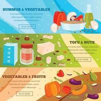 Vegetarian Food Flat Banners Vector Illustration