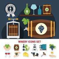 Wine Flat Icons Set Vector Illustration