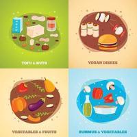 Vegetarian Food Flat Design Concept Vector Illustration