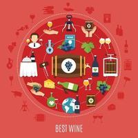 Best Wine Flat Concept Vector Illustration