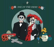 un hombre y una mujer con coloridos disfraces el día de los muertos. ilustraciones de diseño de vectores de estilo dibujado a mano.