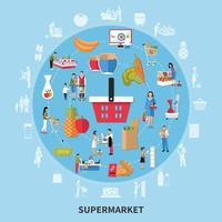 Supermarket Round Composition Vector Illustration