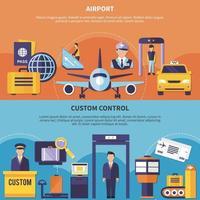 conjunto de banners de aeropuerto plano vector