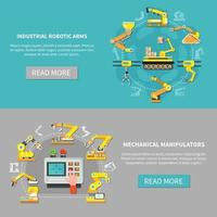 Robotic Arm Banner Set Vector Illustration