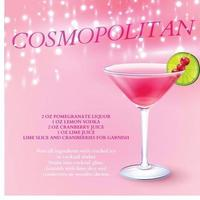 Cocktail Cosmopolitan Recipe Background Vector Illustration