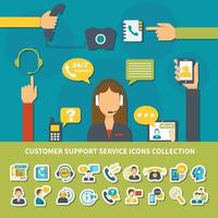 Customer Support Service Icons Collection Vector Illustration