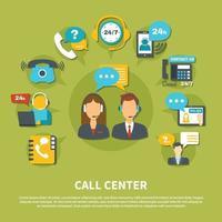 Call Center Composition Vector Illustration