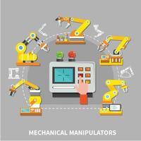 Robotic arm composition Vector Illustration