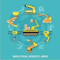 Robotic Arm Round Composition Vector Illustration
