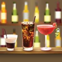 Bar Cocktails Set Composition Vector Illustration