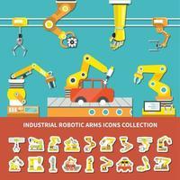 Robotic Arm Colored Composition Vector Illustration