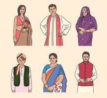 People in beautiful Indian traditional clothes. hand drawn style vector design illustrations.