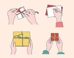 Hand wrapping a gift and writing a card. hand drawn style vector design illustrations.