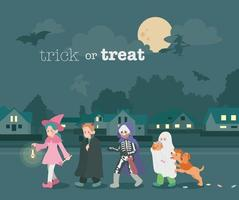 Cute children are walking down the street at night wearing Halloween makeup. hand drawn style vector design illustrations.