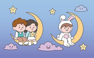 A couple and a rabbit are sitting on a crescent moon. hand drawn style vector design illustrations.