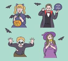 Cute children are dressed up for Halloween. hand drawn style vector design illustrations.