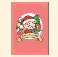 Card with cute Santa girl logo. hand drawn style vector design illustrations.