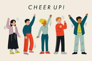 People are cheering with their arms raised. hand drawn style vector design illustrations.