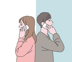 A couple talking on the phone with each other back to back. hand drawn style vector design illustrations.