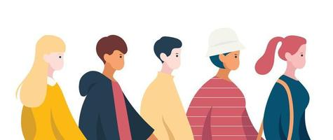 People are walking down the street. hand drawn style vector design illustrations.