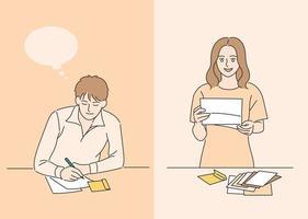 una pareja escribiendo una carta. ilustraciones de diseño de vectores de estilo dibujado a mano.