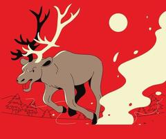 A reindeer is running on a red background. hand drawn style vector design illustrations.