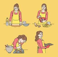 A woman is baking cookies. hand drawn style vector design illustrations.