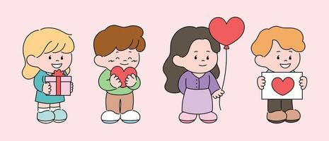 People are holding heart balloon. hand drawn style vector design illustrations.