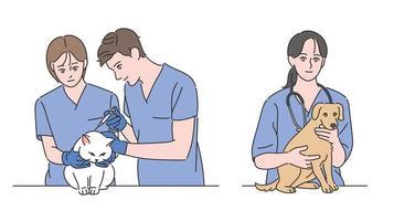 los médicos de los hospitales veterinarios tratan a perros y gatos. ilustraciones de diseño de vectores de estilo dibujado a mano.
