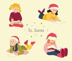 Cute children are writing letters to Santa. hand drawn style vector design illustrations.