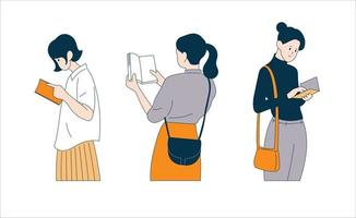 Women are holding books and reading. hand drawn style vector design illustrations.
