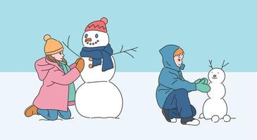 The children are making a cute snowman. hand drawn style vector design illustrations.