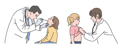 A doctor treating children. hand drawn style vector design illustrations.