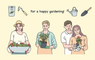People who do home gardening. hand drawn style vector design illustrations.