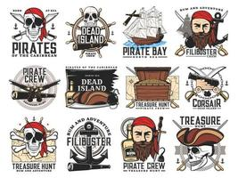 pirates island filibuster treasure hunt emblems vector