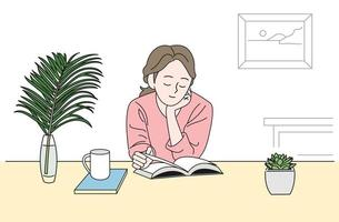 A girl is sitting at a desk and reading a book. hand drawn style vector design illustrations.