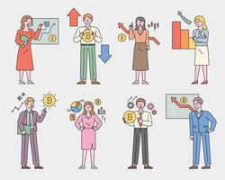 Investment experts characters explaining the Bitcoin graph. flat design style minimal vector illustration.