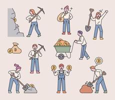 personajes de mineros que extraen monedas en minas de bitcoin. Ilustración de vector mínimo de estilo de diseño plano.