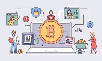 People doing bitcoin stocks around big laptops. flat design style minimal vector illustration.
