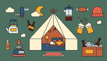 Romantic camping in Mongolian ger. Beer and a variety of camping equipment. outline simple vector illustration.