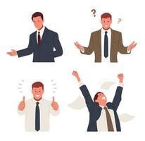 varios gestos de un hombre de negocios con traje. ilustraciones de diseño de vectores de estilo dibujado a mano.