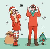 A man and a woman in Santa clothes are cheering. hand drawn style vector design illustrations.