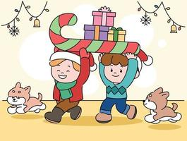 Cute children are carrying presents and puppies are following them. hand drawn style vector design illustrations.