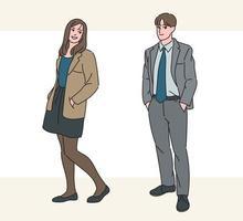 modelos masculinos y femeninos en trajes. ilustraciones de diseño de vectores de estilo dibujado a mano.