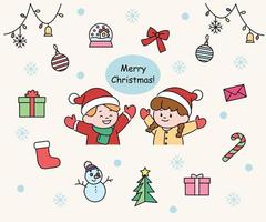 Set of cute Christmas couples and Christmas icons. hand drawn style vector design illustrations.