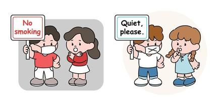 No smoking, please be quiet. Cute couples with message pickets. hand drawn style vector design illustrations.