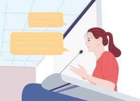 A woman speaking at the podium. hand drawn style vector design illustrations.